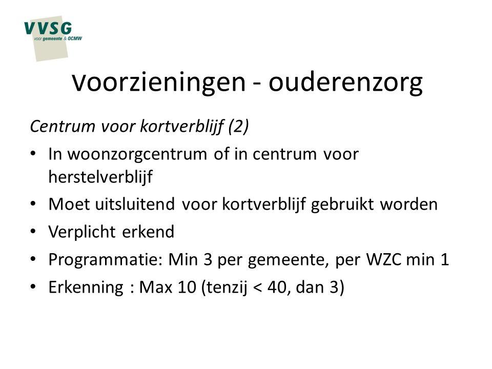 Voorzieningen - ouderenzorg Centrum voor kortverblijf (2) In woonzorgcentrum of in centrum voor herstelverblijf Moet uitsluitend voor kortverblijf geb