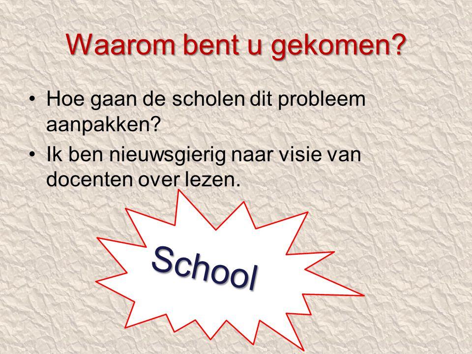 Hoe gaan de scholen dit probleem aanpakken? Ik ben nieuwsgierig naar visie van docenten over lezen. Waarom bent u gekomen? School