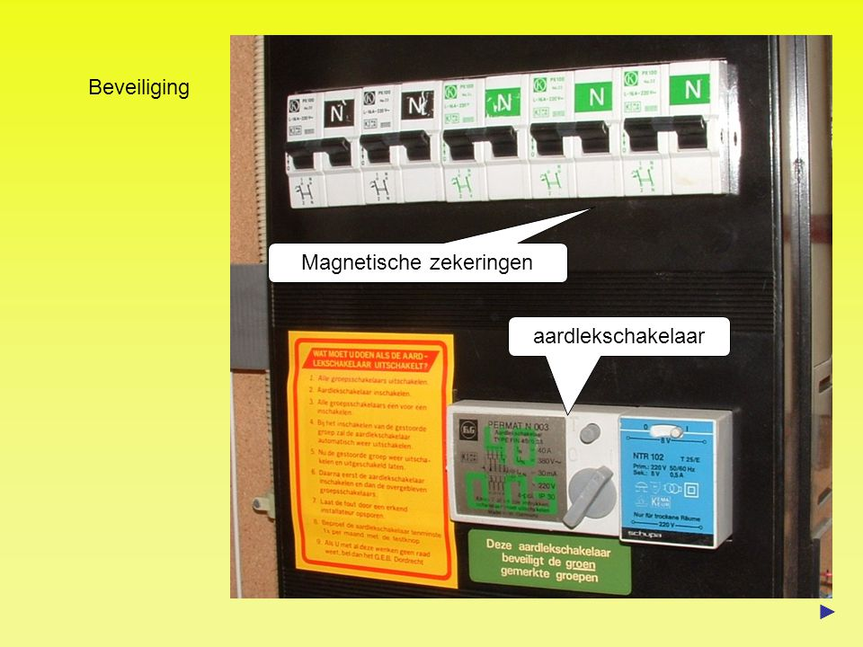 Beveiliging aardlekschakelaar Magnetische zekeringen ►