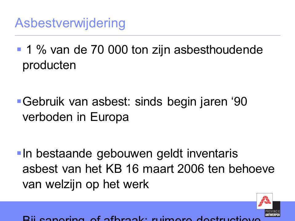 Asbestverwijdering  1 % van de 70 000 ton zijn asbesthoudende producten  Gebruik van asbest: sinds begin jaren '90 verboden in Europa  In bestaande gebouwen geldt inventaris asbest van het KB 16 maart 2006 ten behoeve van welzijn op het werk  Bij sanering of afbraak: ruimere destructieve inventaris