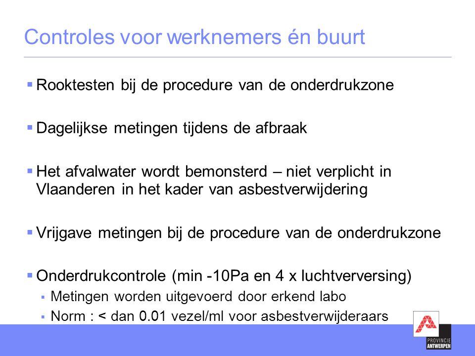  Rooktesten bij de procedure van de onderdrukzone  Dagelijkse metingen tijdens de afbraak  Het afvalwater wordt bemonsterd – niet verplicht in Vlaanderen in het kader van asbestverwijdering  Vrijgave metingen bij de procedure van de onderdrukzone  Onderdrukcontrole (min -10Pa en 4 x luchtverversing)  Metingen worden uitgevoerd door erkend labo  Norm : < dan 0.01 vezel/ml voor asbestverwijderaars Controles voor werknemers én buurt