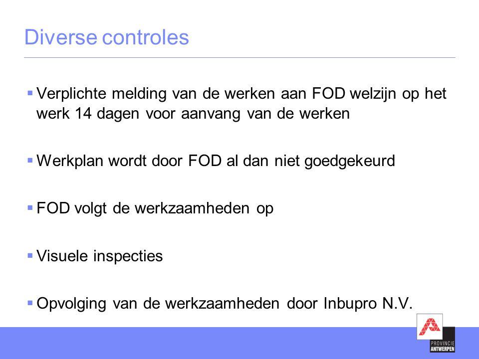  Verplichte melding van de werken aan FOD welzijn op het werk 14 dagen voor aanvang van de werken  Werkplan wordt door FOD al dan niet goedgekeurd  FOD volgt de werkzaamheden op  Visuele inspecties  Opvolging van de werkzaamheden door Inbupro N.V.