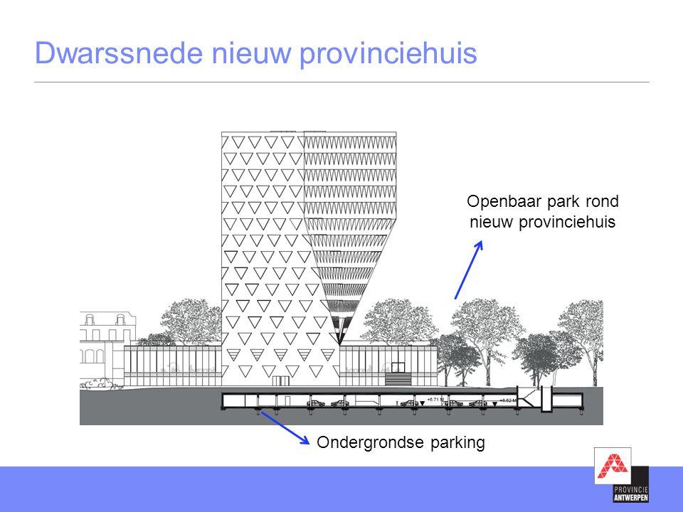 Dwarssnede nieuw provinciehuis Openbaar park rond nieuw provinciehuis Ondergrondse parking