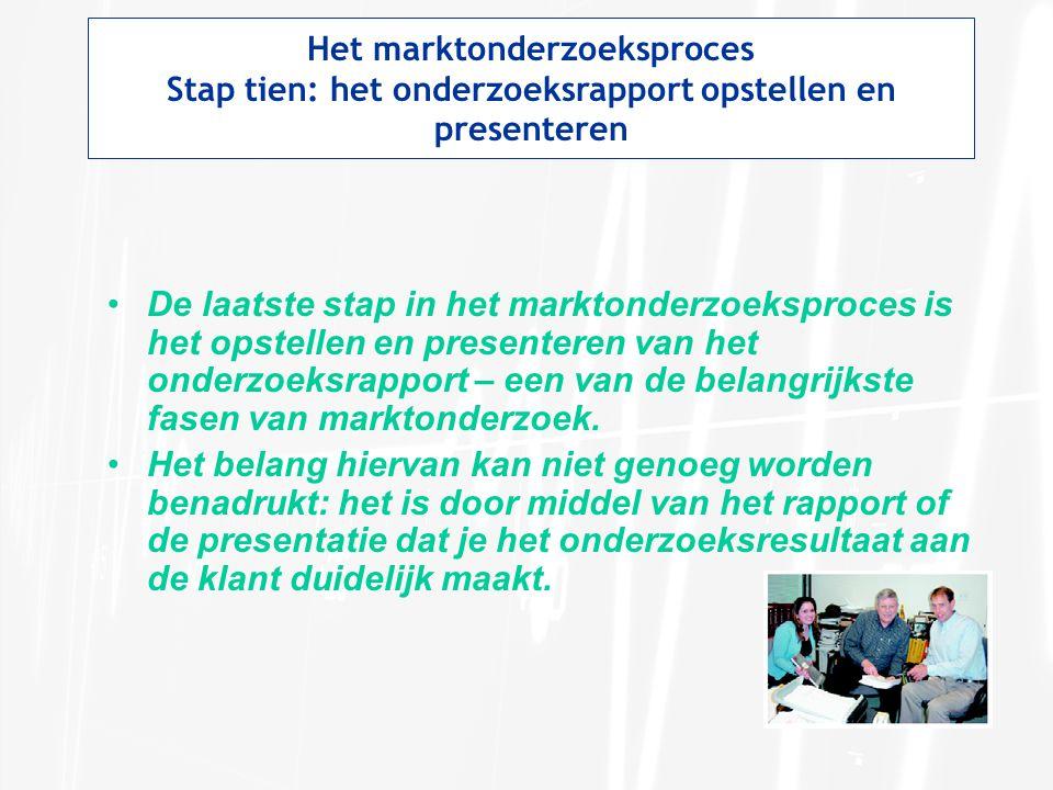 Het marktonderzoeksproces Stap tien: het onderzoeksrapport opstellen en presenteren De laatste stap in het marktonderzoeksproces is het opstellen en presenteren van het onderzoeksrapport – een van de belangrijkste fasen van marktonderzoek.