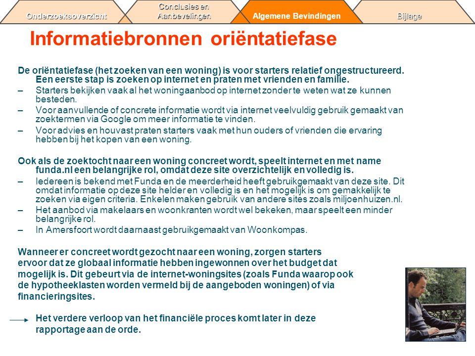 BijlageAlgemene Bevindingen Conclusies en Aanbevelingen Onderzoeksoverzicht Informatiebronnen oriëntatiefase De oriëntatiefase (het zoeken van een won