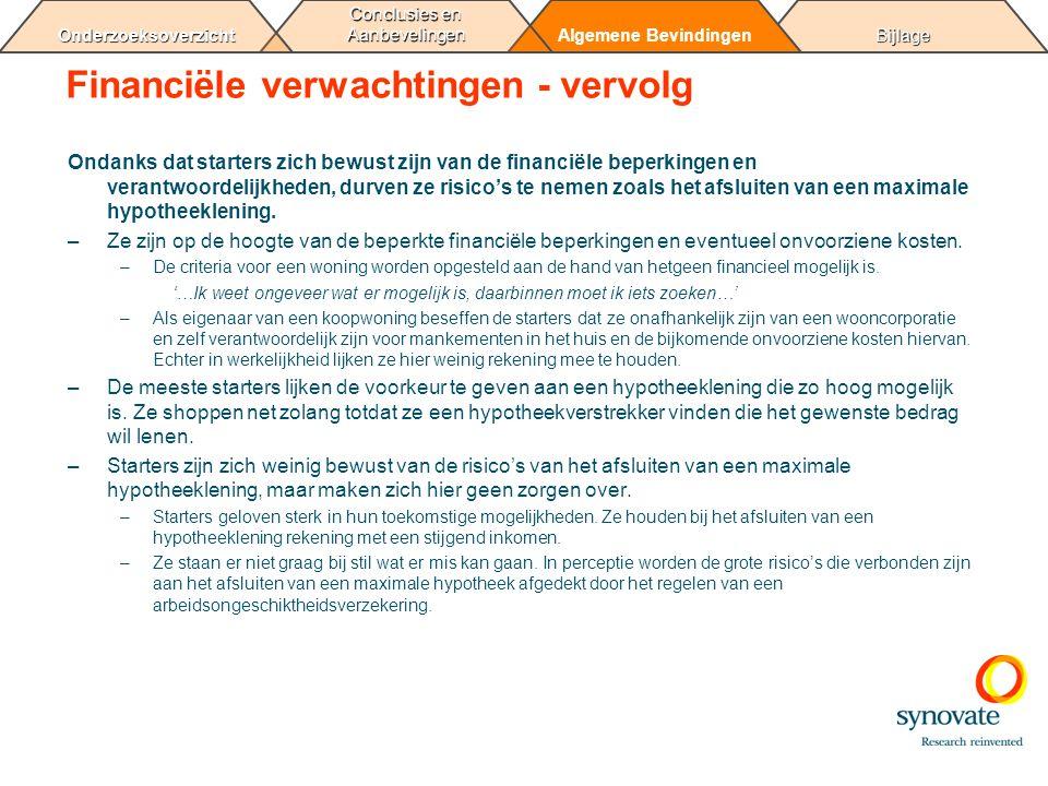 BijlageAlgemene Bevindingen Conclusies en Aanbevelingen Onderzoeksoverzicht Financiële verwachtingen - vervolg Ondanks dat starters zich bewust zijn v