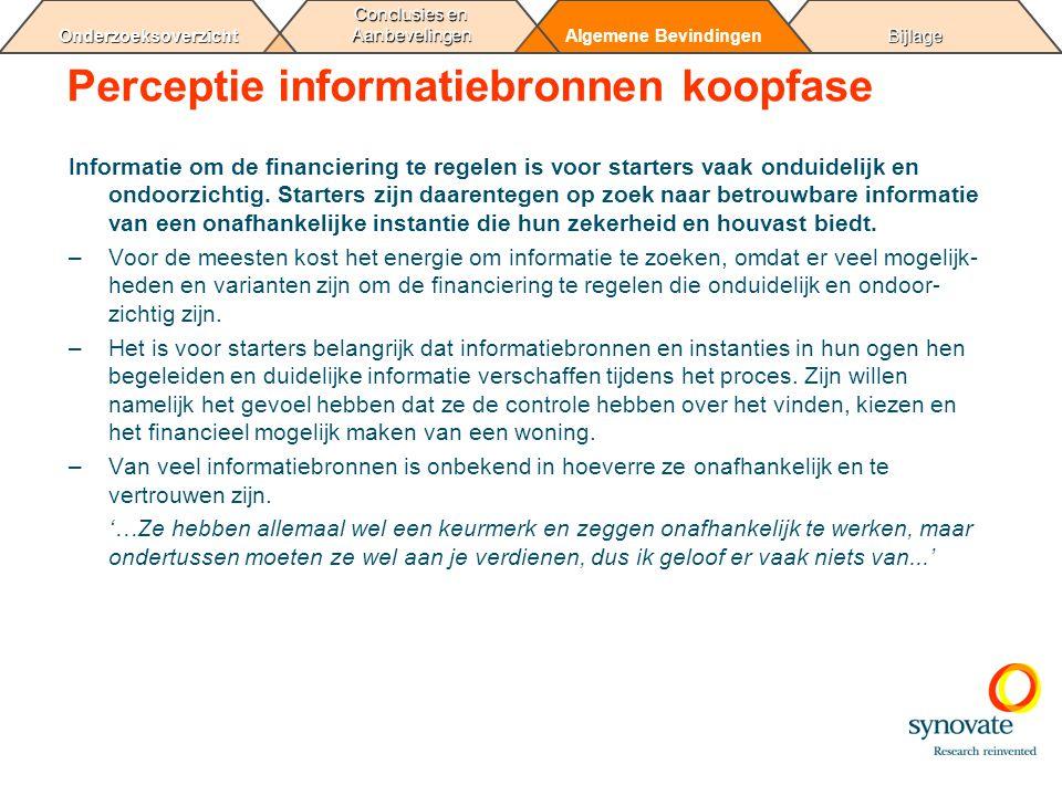 BijlageAlgemene Bevindingen Conclusies en Aanbevelingen Onderzoeksoverzicht Perceptie informatiebronnen koopfase Informatie om de financiering te rege