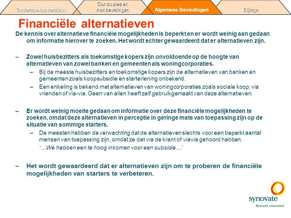 BijlageAlgemene Bevindingen Conclusies en Aanbevelingen Onderzoeksoverzicht Financiële alternatieven De kennis over alternatieve financiële mogelijkhe