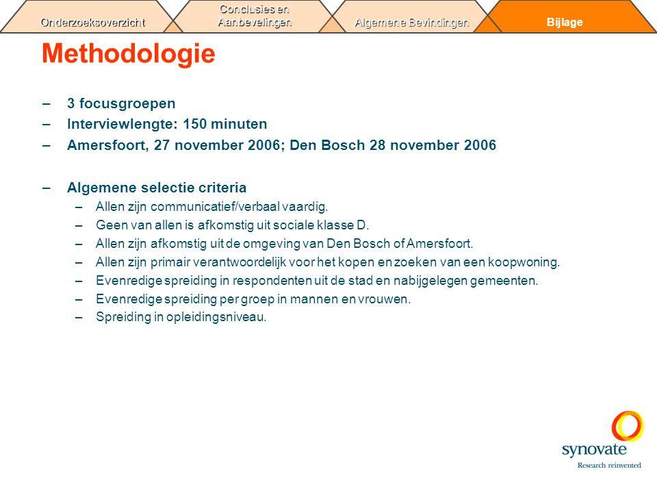 Bijlage Algemene Bevindingen Conclusies en Aanbevelingen Onderzoeksoverzicht Methodologie –3 focusgroepen –Interviewlengte: 150 minuten –Amersfoort, 2