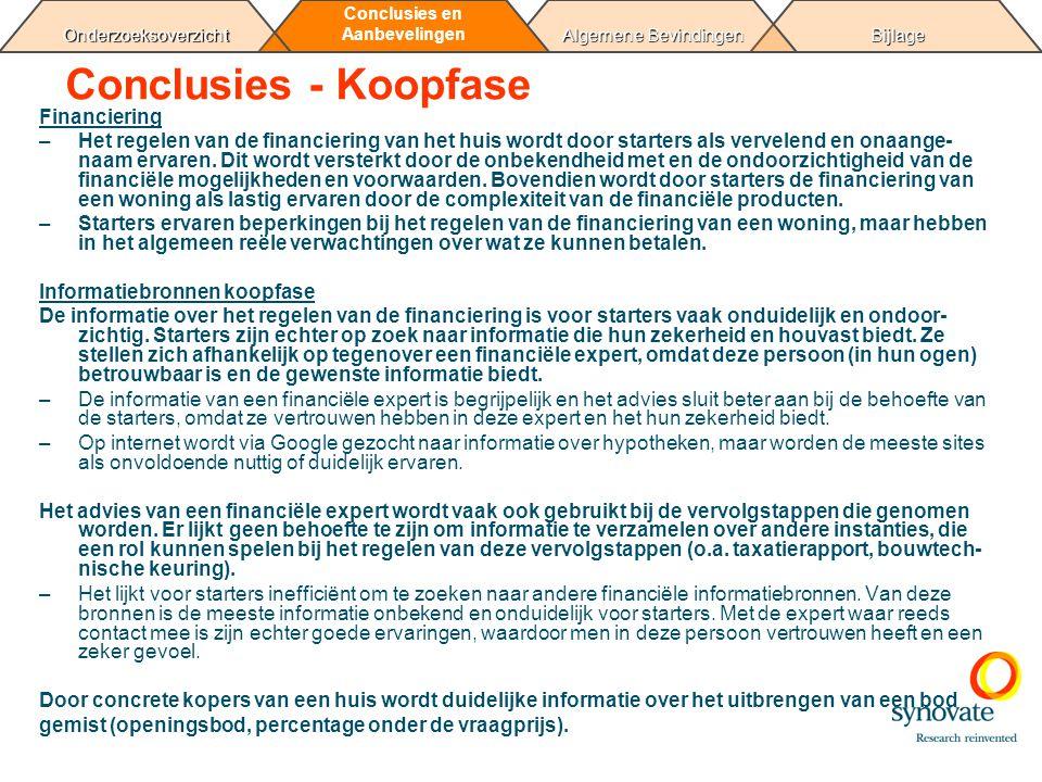 Bijlage Algemene Bevindingen Conclusies en AanbevelingenOnderzoeksoverzicht Conclusies - Koopfase Financiering –Het regelen van de financiering van he