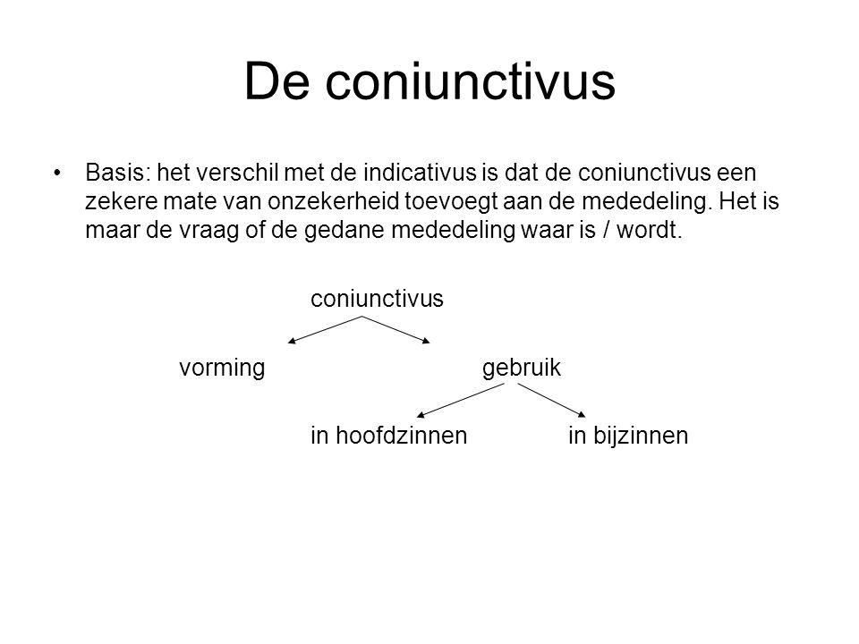 De coniunctivus Basis: het verschil met de indicativus is dat de coniunctivus een zekere mate van onzekerheid toevoegt aan de mededeling. Het is maar