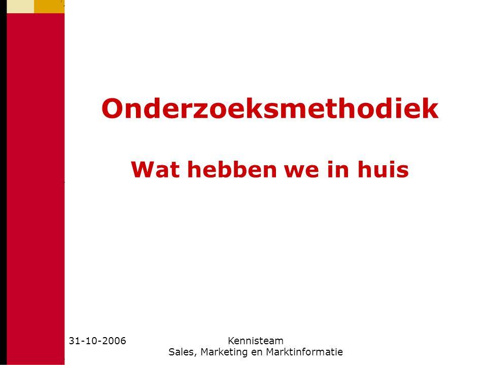 31-10-2006Kennisteam Sales, Marketing en Marktinformatie Jos Seegers, p2 Onderzoeksmethodiek Wat hebben we in huis (1) Dat begint met onze kennisteam: http://www.kennisteam5.femplaza.nl/ Waarvan de leden zijn: http://www.kennisteam5.femplaza.nl/wie.htm