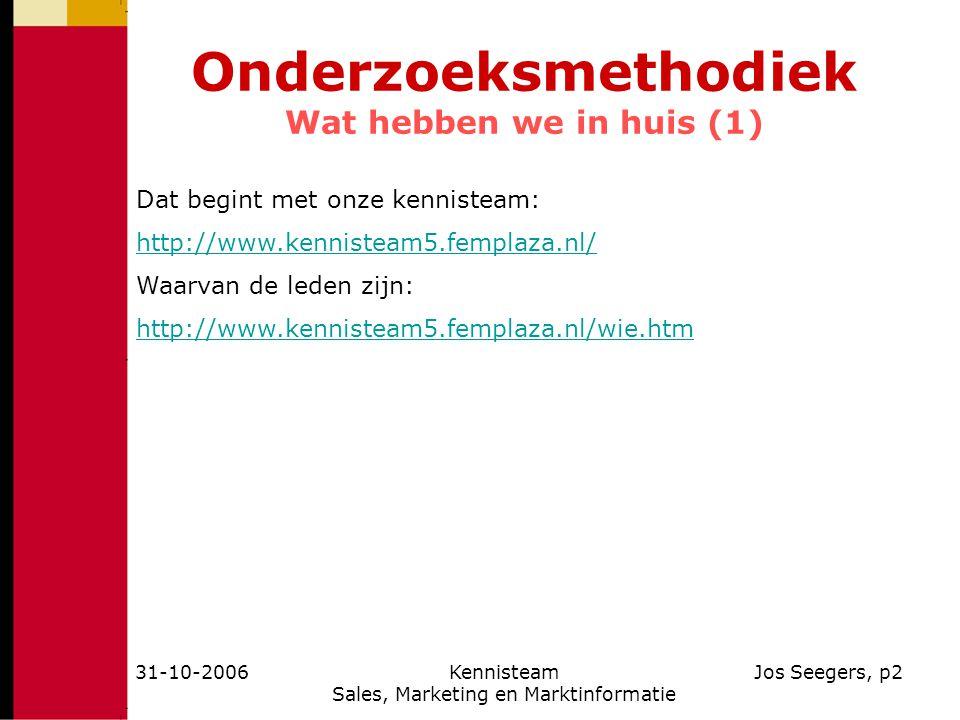 31-10-2006Kennisteam Sales, Marketing en Marktinformatie Jos Seegers, p2 Onderzoeksmethodiek Wat hebben we in huis (1) Dat begint met onze kennisteam: