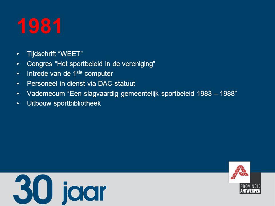 """1981 Tijdschrift """"WEET"""" Congres """"Het sportbeleid in de vereniging"""" Intrede van de 1 ste computer Personeel in dienst via DAC-statuut Vademecum """"Een sl"""