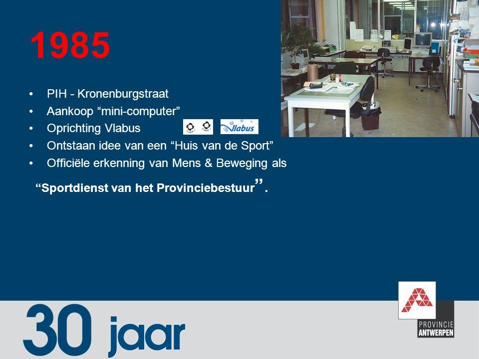 """1985 PIH - Kronenburgstraat Aankoop """"mini-computer"""" Oprichting Vlabus Ontstaan idee van een """"Huis van de Sport"""" Officiële erkenning van Mens & Bewegin"""