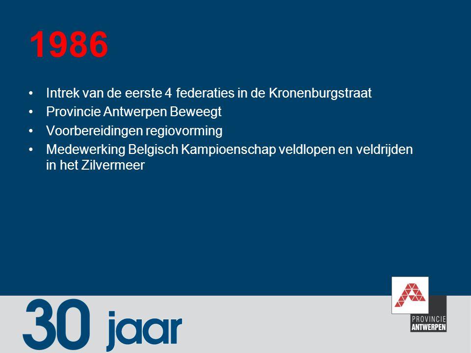 1986 Intrek van de eerste 4 federaties in de Kronenburgstraat Provincie Antwerpen Beweegt Voorbereidingen regiovorming Medewerking Belgisch Kampioensc