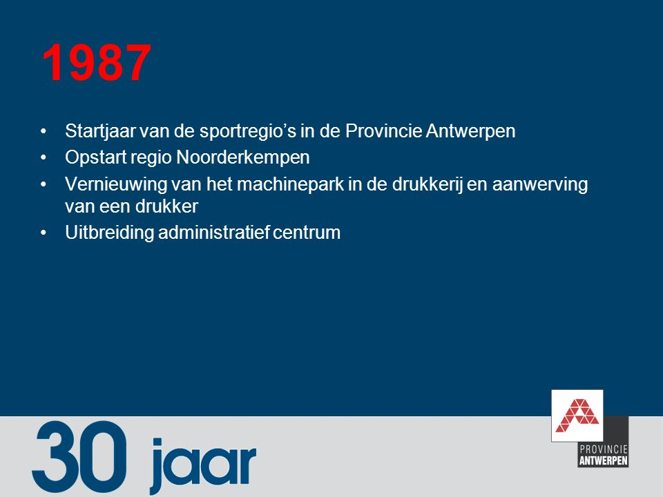 1987 Startjaar van de sportregio's in de Provincie Antwerpen Opstart regio Noorderkempen Vernieuwing van het machinepark in de drukkerij en aanwerving