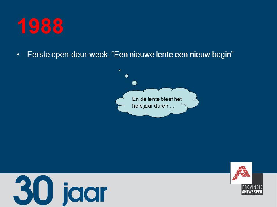 """1988 Eerste open-deur-week: """"Een nieuwe lente een nieuw begin"""" En de lente bleef het hele jaar duren …"""
