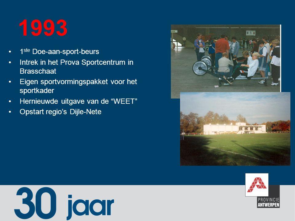 1993 1 ste Doe-aan-sport-beurs Intrek in het Prova Sportcentrum in Brasschaat Eigen sportvormingspakket voor het sportkader Hernieuwde uitgave van de