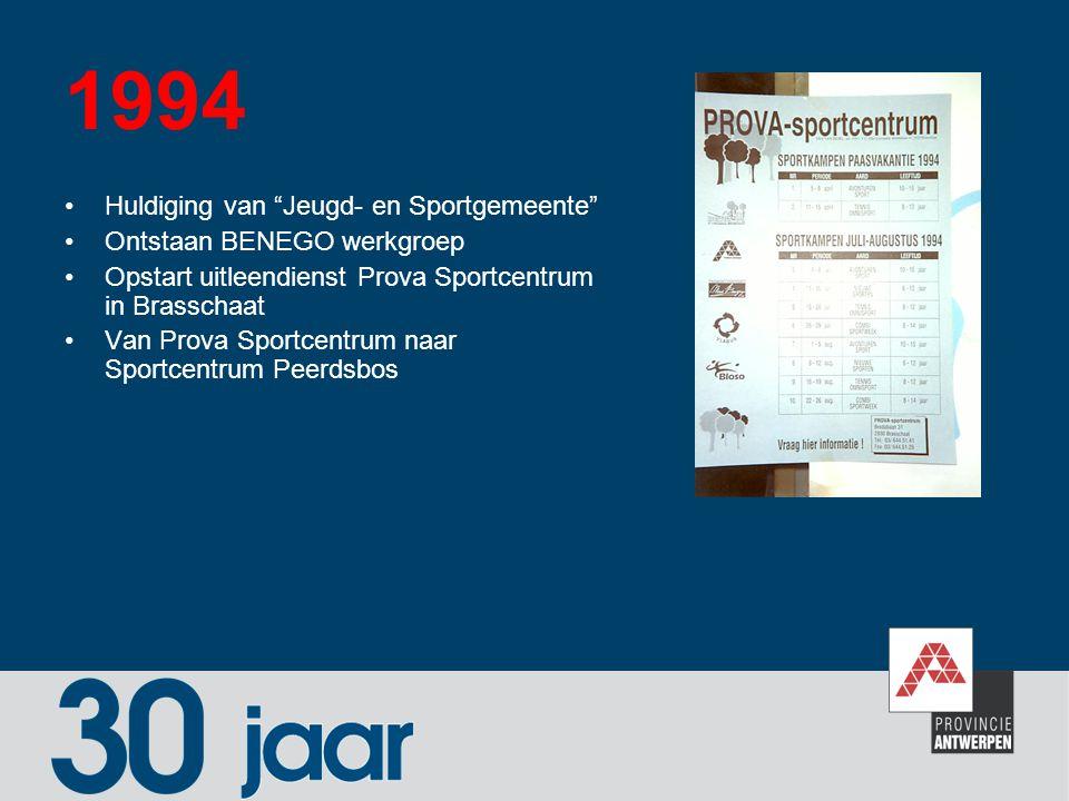 "1994 Huldiging van ""Jeugd- en Sportgemeente"" Ontstaan BENEGO werkgroep Opstart uitleendienst Prova Sportcentrum in Brasschaat Van Prova Sportcentrum n"