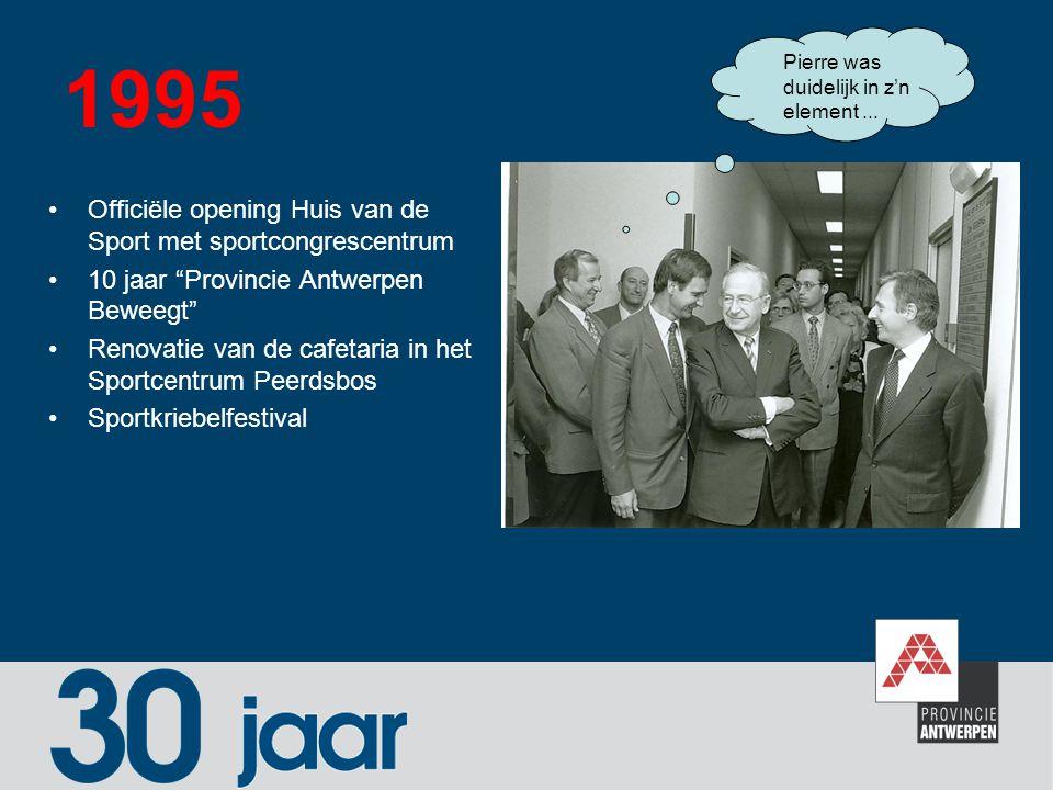 """1995 Officiële opening Huis van de Sport met sportcongrescentrum 10 jaar """"Provincie Antwerpen Beweegt"""" Renovatie van de cafetaria in het Sportcentrum"""