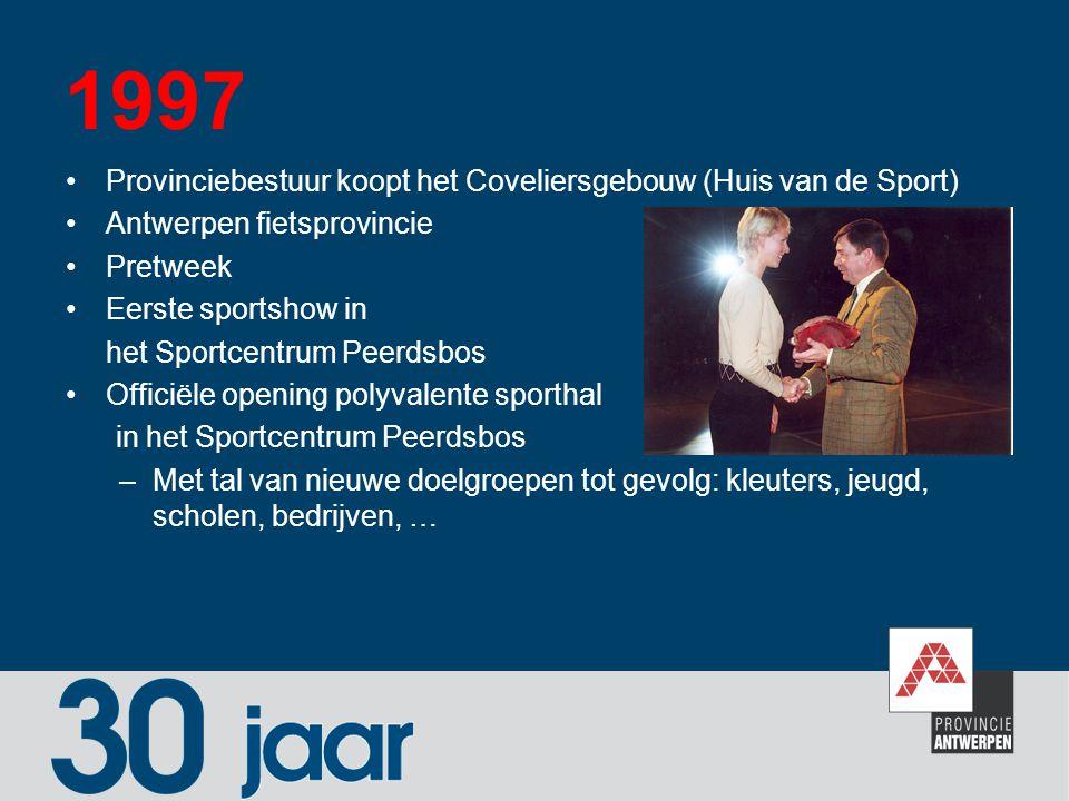 1997 Provinciebestuur koopt het Coveliersgebouw (Huis van de Sport) Antwerpen fietsprovincie Pretweek Eerste sportshow in het Sportcentrum Peerdsbos O