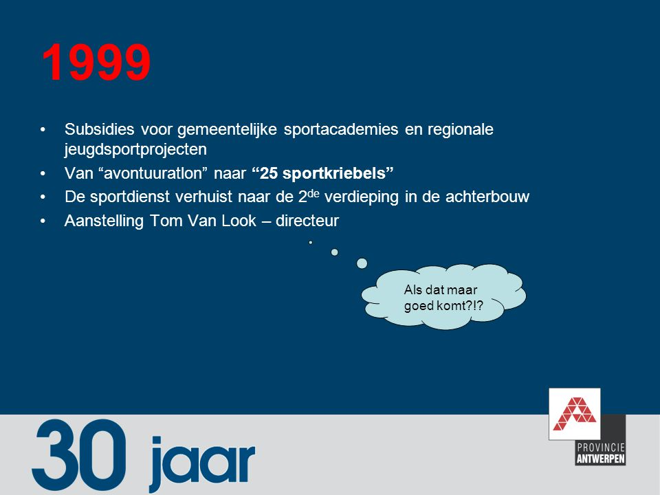 """1999 Subsidies voor gemeentelijke sportacademies en regionale jeugdsportprojecten Van """"avontuuratlon"""" naar """"25 sportkriebels"""" De sportdienst verhuist"""