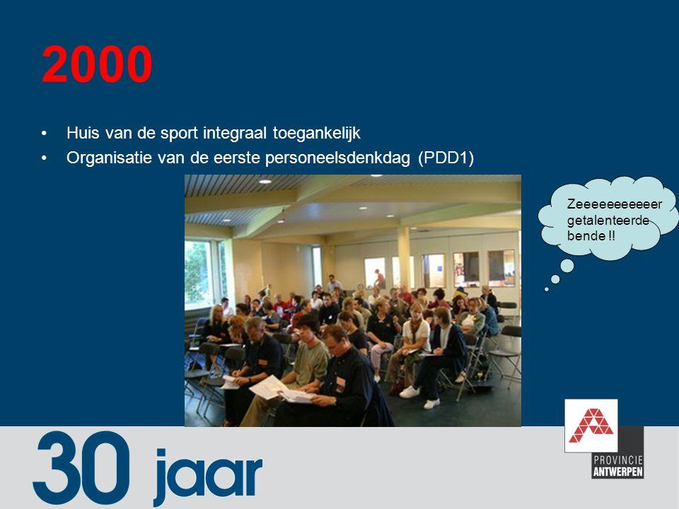 2000 Huis van de sport integraal toegankelijk Organisatie van de eerste personeelsdenkdag (PDD1) Zeeeeeeeeeeer getalenteerde bende !!