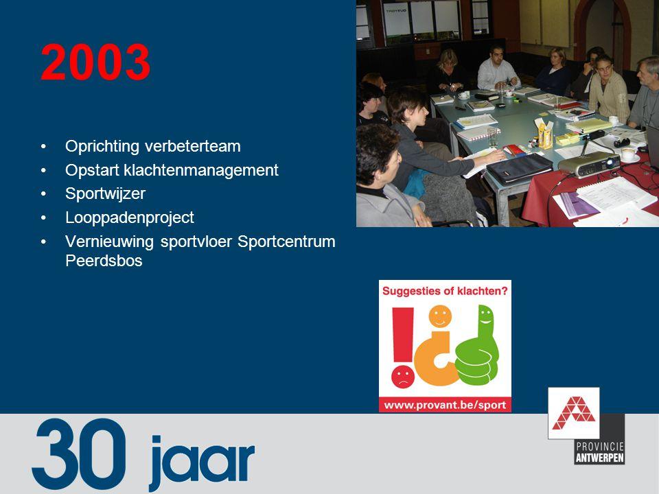 2003 Oprichting verbeterteam Opstart klachtenmanagement Sportwijzer Looppadenproject Vernieuwing sportvloer Sportcentrum Peerdsbos