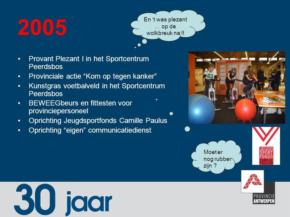 """2005 Provant Plezant I in het Sportcentrum Peerdsbos Provinciale actie """"Kom op tegen kanker"""" Kunstgras voetbalveld in het Sportcentrum Peerdsbos BEWEE"""