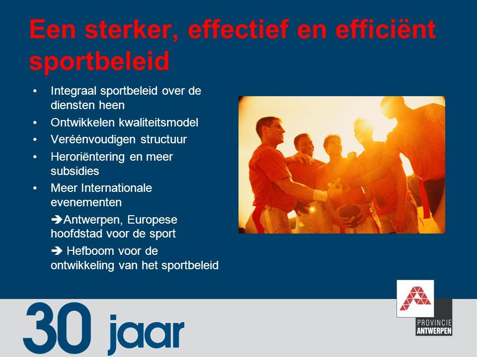 Een sterker, effectief en efficiënt sportbeleid Integraal sportbeleid over de diensten heen Ontwikkelen kwaliteitsmodel Veréénvoudigen structuur Heror