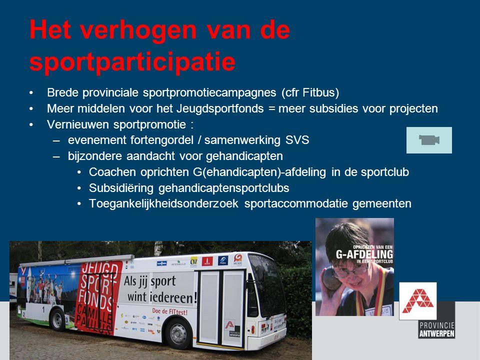 Het verhogen van de sportparticipatie Brede provinciale sportpromotiecampagnes (cfr Fitbus) Meer middelen voor het Jeugdsportfonds = meer subsidies vo