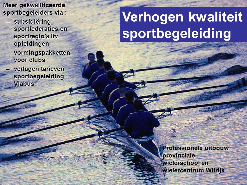 Verhogen kwaliteit sportbegeleiding Professionele uitbouw provinciale wielerschool en wielercentrum Wilrijk Meer gekwalificeerde sportbegeleiders via