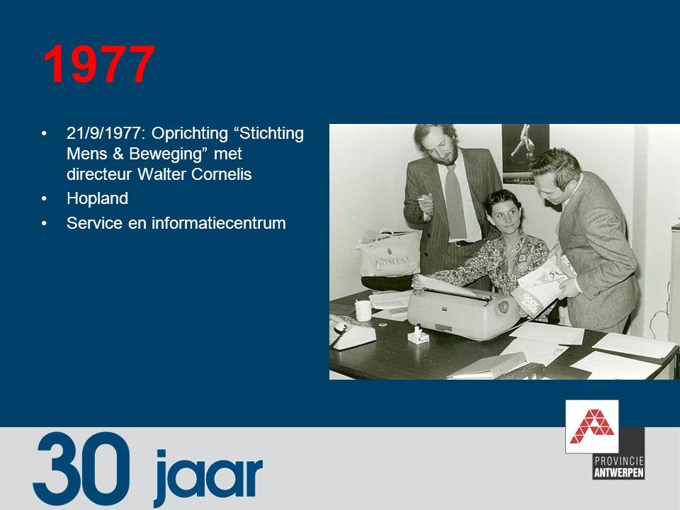 1997 Provinciebestuur koopt het Coveliersgebouw (Huis van de Sport) Antwerpen fietsprovincie Pretweek Eerste sportshow in het Sportcentrum Peerdsbos Officiële opening polyvalente sporthal in het Sportcentrum Peerdsbos –Met tal van nieuwe doelgroepen tot gevolg: kleuters, jeugd, scholen, bedrijven, …