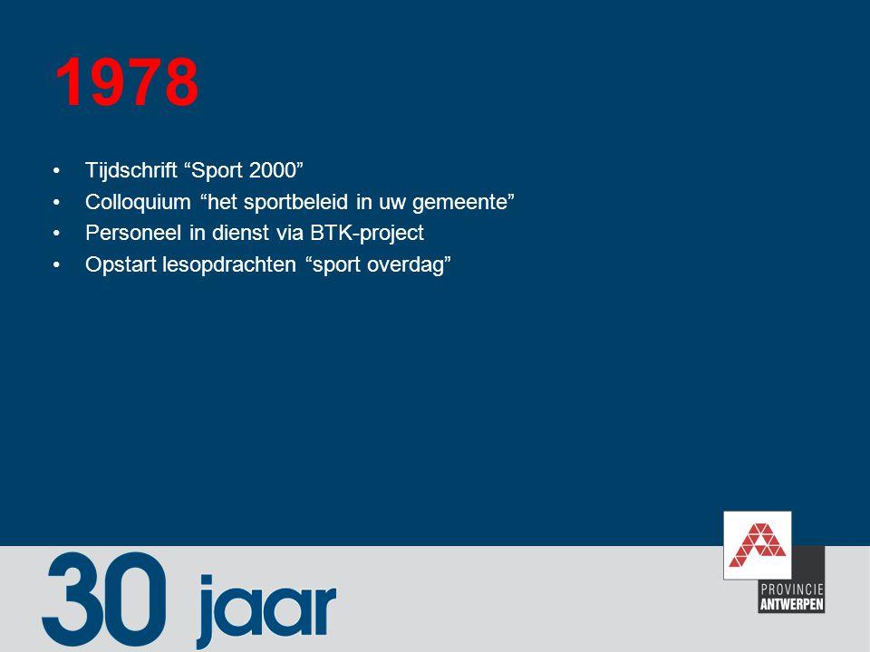 """1978 Tijdschrift """"Sport 2000"""" Colloquium """"het sportbeleid in uw gemeente"""" Personeel in dienst via BTK-project Opstart lesopdrachten """"sport overdag"""""""