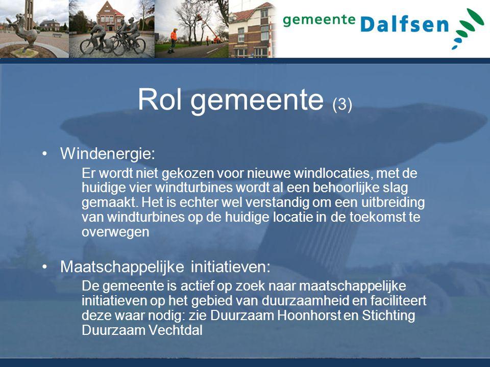 Rol gemeente (3) Windenergie: Er wordt niet gekozen voor nieuwe windlocaties, met de huidige vier windturbines wordt al een behoorlijke slag gemaakt.