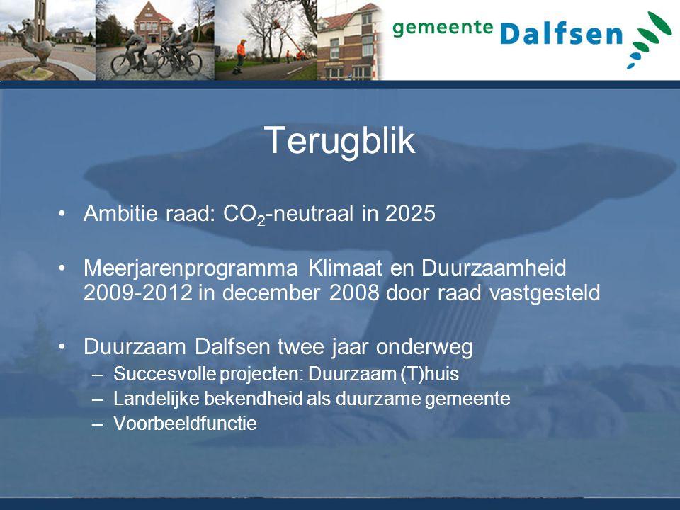 Terugblik Ambitie raad: CO 2 -neutraal in 2025 Meerjarenprogramma Klimaat en Duurzaamheid 2009-2012 in december 2008 door raad vastgesteld Duurzaam Dalfsen twee jaar onderweg –Succesvolle projecten: Duurzaam (T)huis –Landelijke bekendheid als duurzame gemeente –Voorbeeldfunctie