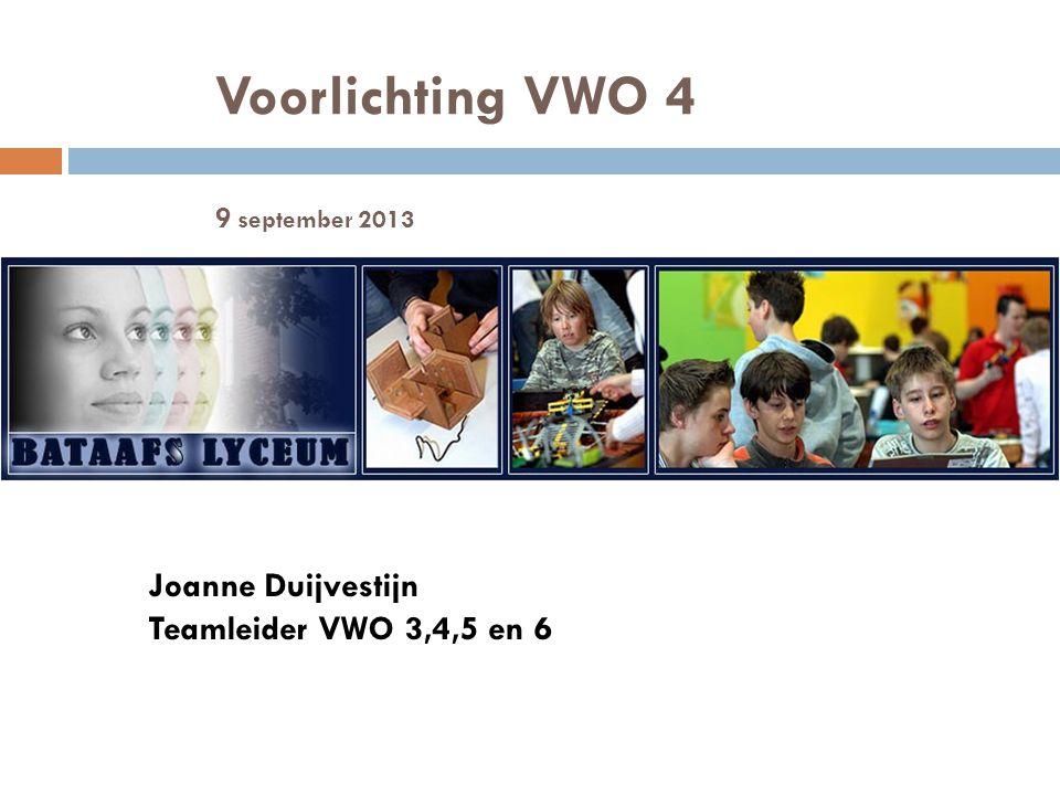 Voorlichting VWO 4 9 september 2013 Joanne Duijvestijn Teamleider VWO 3,4,5 en 6