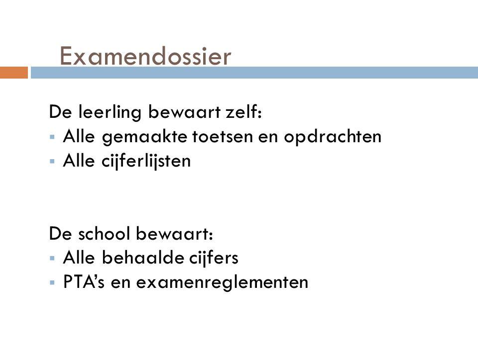 Examendossier De leerling bewaart zelf:  Alle gemaakte toetsen en opdrachten  Alle cijferlijsten De school bewaart:  Alle behaalde cijfers  PTA's en examenreglementen