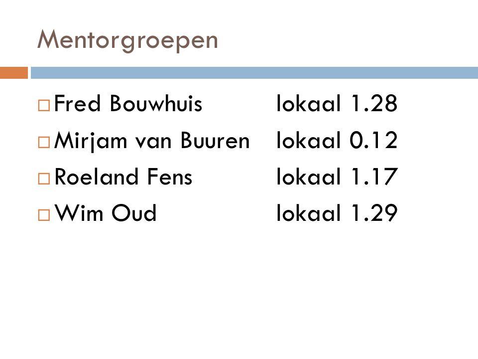 Mentorgroepen  Fred Bouwhuislokaal 1.28  Mirjam van Buurenlokaal 0.12  Roeland Fenslokaal 1.17  Wim Oudlokaal 1.29