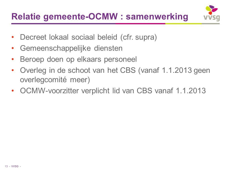 VVSG - Relatie gemeente-OCMW : samenwerking Decreet lokaal sociaal beleid (cfr.