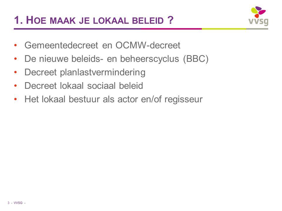 VVSG - Heldere doelstellingen (2) Randvoorwaarden voor verhouding tussen moederbestuur (gemeente) en dochterbestuur (OCMW) : operationele autonomie van OCMW vergt : aparte rechtspersoon eigen beheersorgaan eigen budget eigen ambtelijke leiding Cfr.