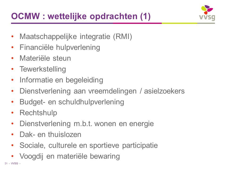 VVSG - OCMW : wettelijke opdrachten (1) Maatschappelijke integratie (RMI) Financiële hulpverlening Materiële steun Tewerkstelling Informatie en begeleiding Dienstverlening aan vreemdelingen / asielzoekers Budget- en schuldhulpverlening Rechtshulp Dienstverlening m.b.t.