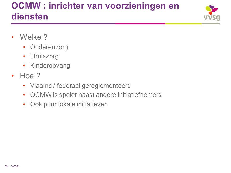 VVSG - OCMW : inrichter van voorzieningen en diensten Welke .