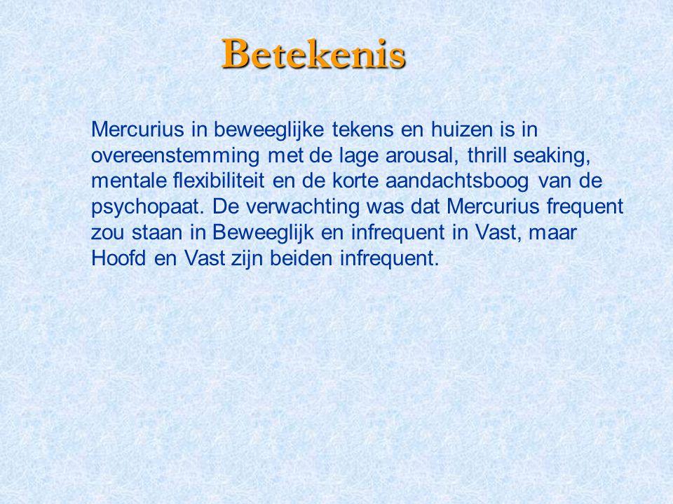 Betekenis Mercurius in beweeglijke tekens en huizen is in overeenstemming met de lage arousal, thrill seaking, mentale flexibiliteit en de korte aanda