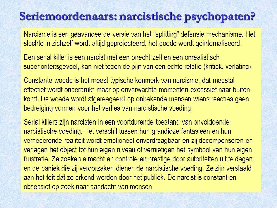 """Narcisme is een geavanceerde versie van het """"splitting"""" defensie mechanisme. Het slechte in zichzelf wordt altijd geprojecteerd, het goede wordt geint"""