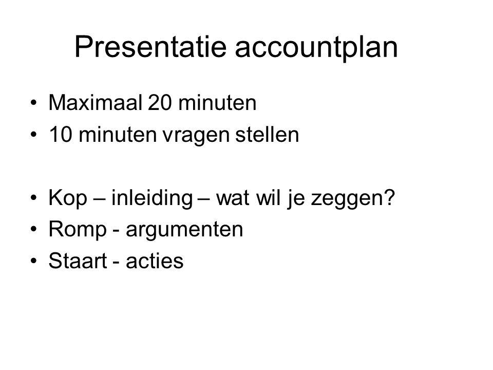 Presentatie accountplan Maximaal 20 minuten 10 minuten vragen stellen Kop – inleiding – wat wil je zeggen.