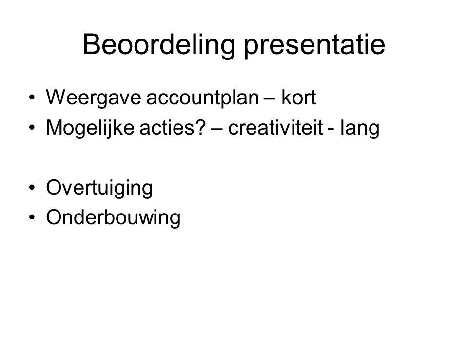 Beoordeling presentatie Weergave accountplan – kort Mogelijke acties.