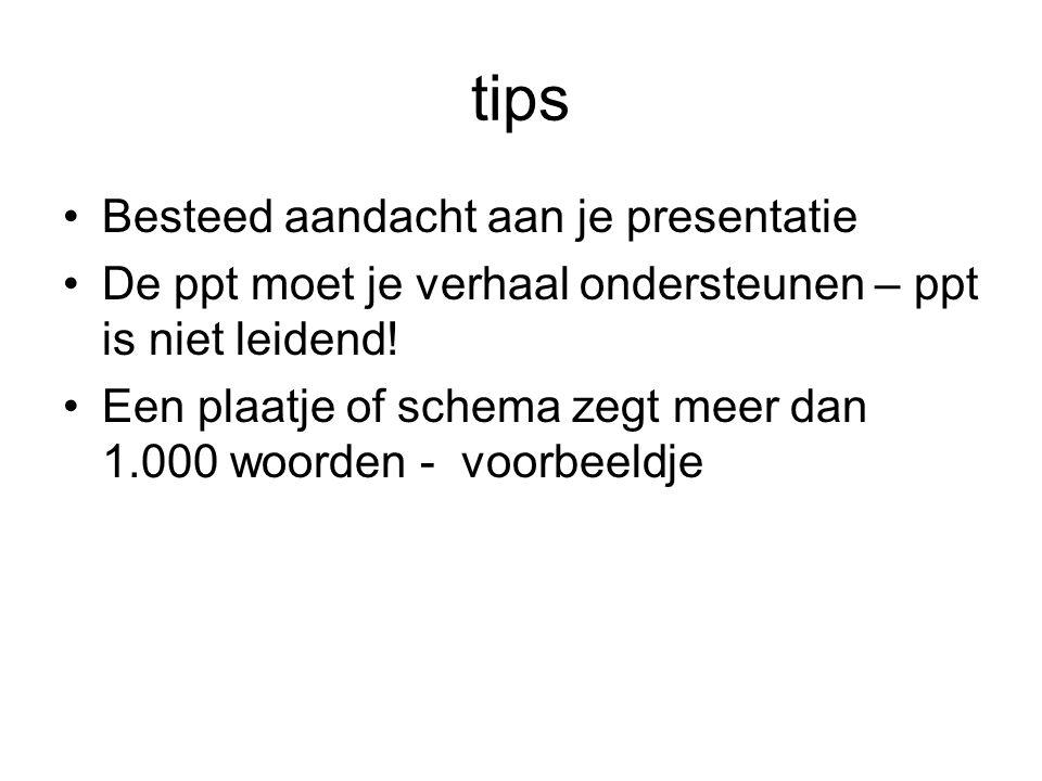 tips Besteed aandacht aan je presentatie De ppt moet je verhaal ondersteunen – ppt is niet leidend.