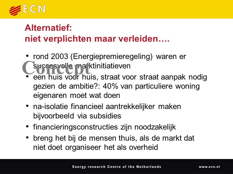 Alternatief: niet verplichten maar verleiden…. rond 2003 (Energiepremieregeling) waren er succesvolle marktinitiatieven een huis voor huis, straat voo